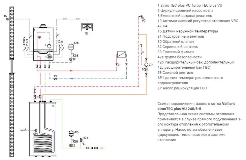 Подключение термостата к газовому котлу вайлант схема